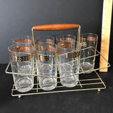 Vintage Caddy with 7 Gold Leaf Topped Tumblers
