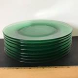 8 pc Vintage Vaseline/Uranium Glass Lunch Plates