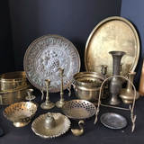 Nice Lot of Misc Vintage Brass Items - Candlesticks, Planters, Platters & More