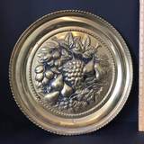 Large Brass Round Wall Hanging with Embossed Fruit Design