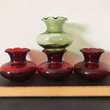 Lot of 4 Ruby & Green Short Vases with Ruffled Edges