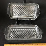 Pair of Vintage Pressed Glass Rectangular Dishes