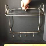 Vintage Metal Paper Towel Rack with 4 Hooks