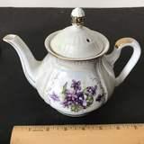 Vintage Iridescent Teapot with Purple Flowers