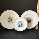 Set of 3 Vintage Plates with Fruit Design