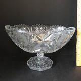 Vintage Oblong Pressed Glass Pedestal Bowl