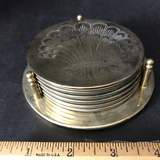 Brass Tone Coaster Set with Shell Design