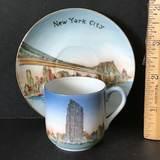 "Hand Painted ""New York City"" Souvenir Demitasse Cup & Saucer"