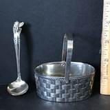 Silver Plated Basket with Honey Spoon