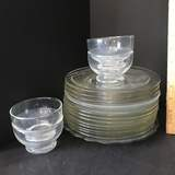 Lot of Clear Glass Plates & Dessert Dishes