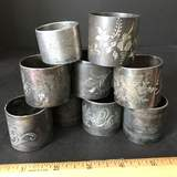 Lot of Vintage Silver Plated Etched Napkin Holders