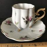 Vintage Demitasse Cup & Saucer with Rose & Gilt Accent