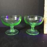 Pair of Vaseline/Uranium Glass Sherbets