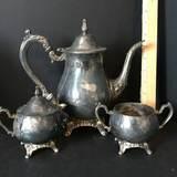 Vintage Oneida Silver Plate Tea Set with Teapot, Creamer & Sugar