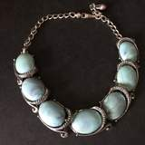Silver Tone Vintage Choker with Large Turquoise Colored Stones
