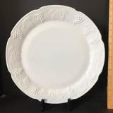 Vintage Milk Glass Large Platter with Embossed Grape Design