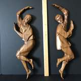 2 pc Wooden Vintage Dancing Couple Wall Hangings
