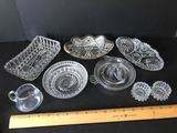Clear Glass Lot of Serving Dishes, Juicer, Salts & More
