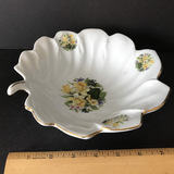 Leaf Shaped Bowl by Formalities with Lily Design & Gilt Accent