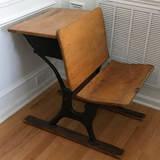 Antique Wood & Cast Iron School Desk