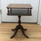 Vintage Wooden 2-Tier Telephone Table