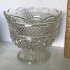 Vintage Pressed Glass Compote with Ruffled Top