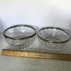 Pair of Heavy Glass Bowls with Silver Plate Rims