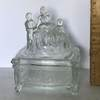 Vintage Glass Lidded Dish with Victorian Woman & Children