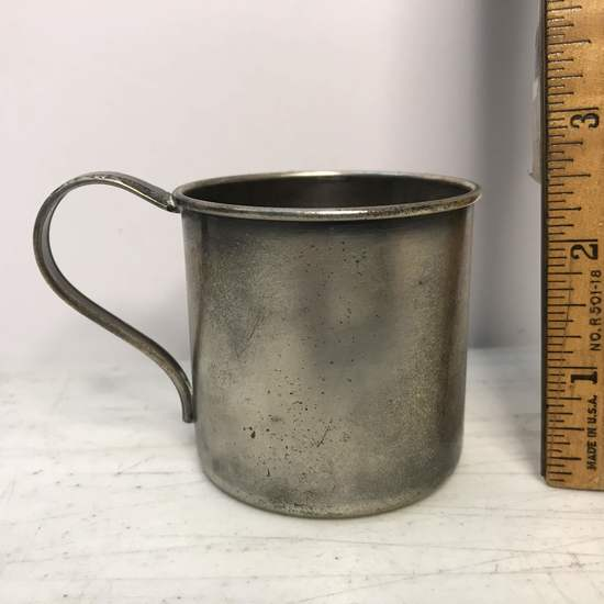 Vintage Silver Plate Over Copper Baby Cup with Spoon Handle by Rogers 1881
