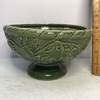 Pretty Green Pedestal Pottery Planter with Embossed Grape Design Signed Potteries Hosley