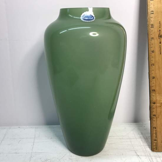 Vintage Hand Crafted Imperial Glass Green Tall Vase with Original Foil Label