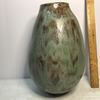 Large Green & Brown Hand Made Pottery Vase