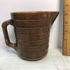 Nice Vintage Ribbed Brown Pottery Pitcher USA