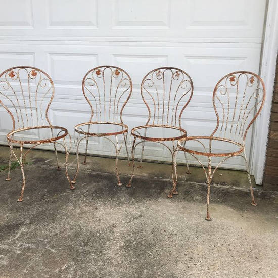 Set of 4 Metal Antique Ice Cream Parlor Chairs