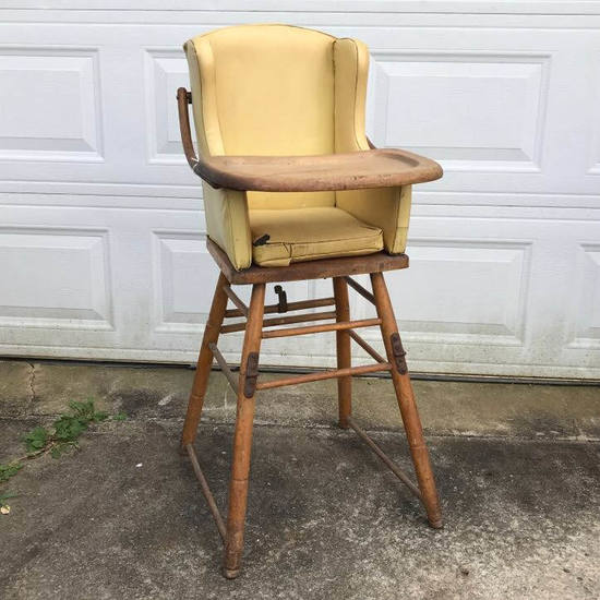 Vintage Wooden High Chair & Potty Chair