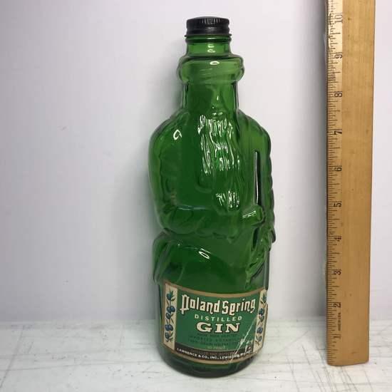 Vintage Green Glass Poland Spring Distilled Gin Figural Bottle
