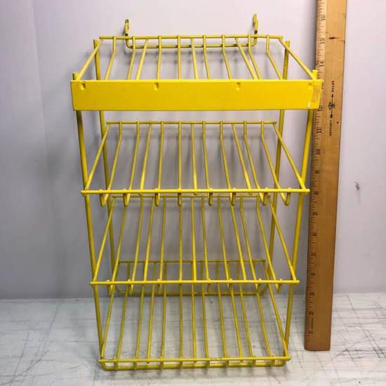 Metal Yellow Display Rack with 4 Shelves