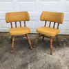 Mid-Century Modern Wooden Chairs with Gold Upholstery