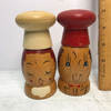 Pair of Vintage Wooden Chef Salt & Pepper Shakers - Made in Japan