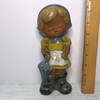 Royal Sealy Glazed Clay Little Girl With Umbrella Figurine - Made in Japan