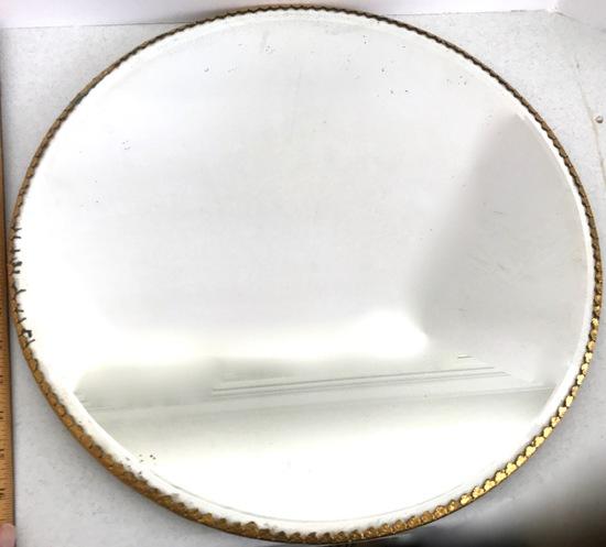 """Antique Victorian 18"""" Round Beveled Dresser Plateau Mirror with Gilt Edging"""