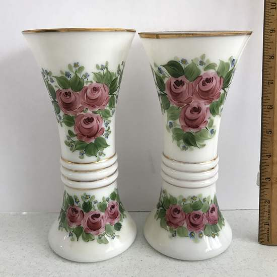 Pair of Beautiful White Glass Hand Painted Vases Signed on Bottom