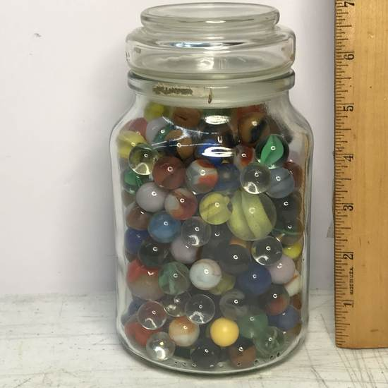 Jar Full of Vintage Marbles & Shooters