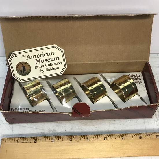 American Museum Brass Napkin Holders by Baldwin in Box