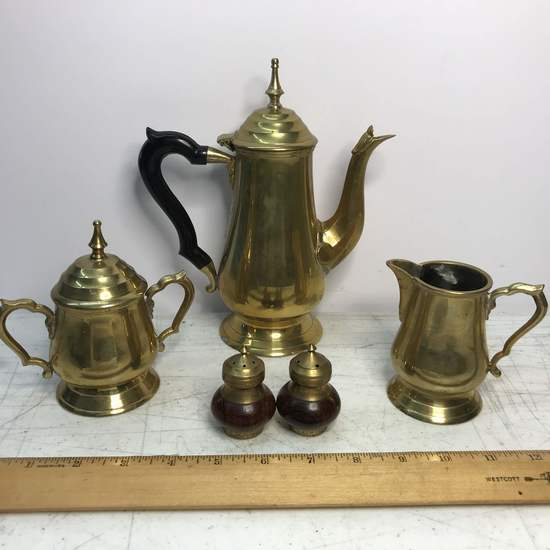 Vintage Brass Teapot, Creamer & Sugar with Brass & Wood Salt & Pepper Shakers