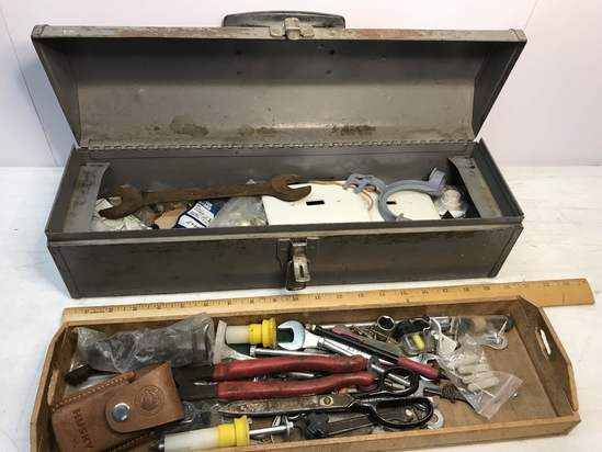 Metal Craftsman Toolbox with Misc Tools & Hand Made Wooden Tray