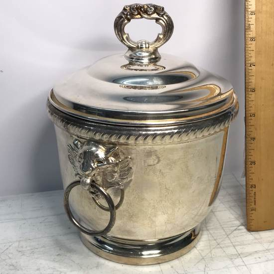 Vintage Silver Plated Towle Ice Bucket with Milk Glass Insert & Lion Head Handles