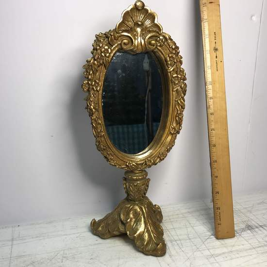 Footed Ornate Gilt Dresser Mirror by Elements