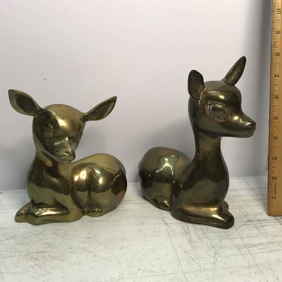 Pair of Large Brass Fawns Figurines