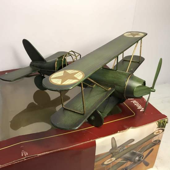 Decorative Metal Airplane in Box